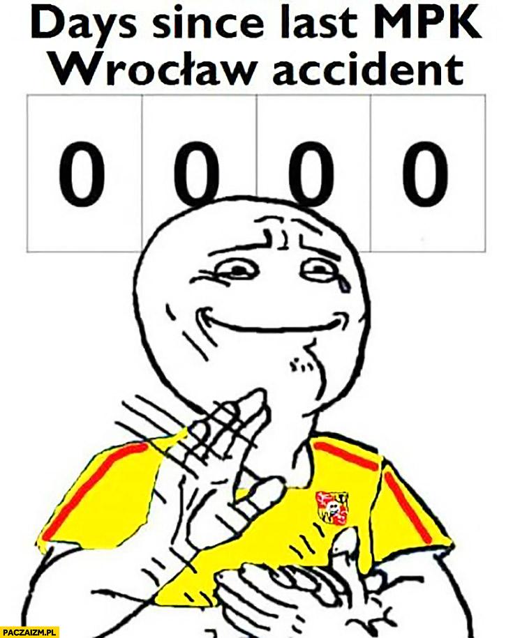 0 dni od ostatniego wypadku MPK Wrocław days since last MPK Wrocław accident