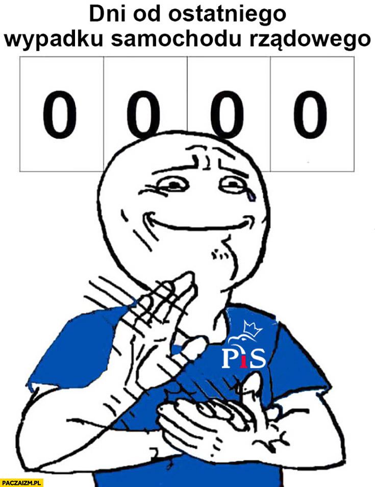 0 dni od ostatniego wypadku samochodu rządowego PiS bije brawo mem