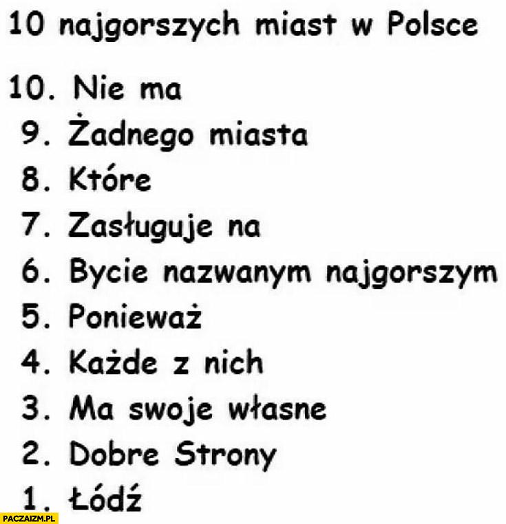 10 najgorszych miast w Polsce lista Łódź nie ma żadnego miasta które zasługuje na bycie nazwanym najgorszym ponieważ każde z nich ma swoje własne dobre strony