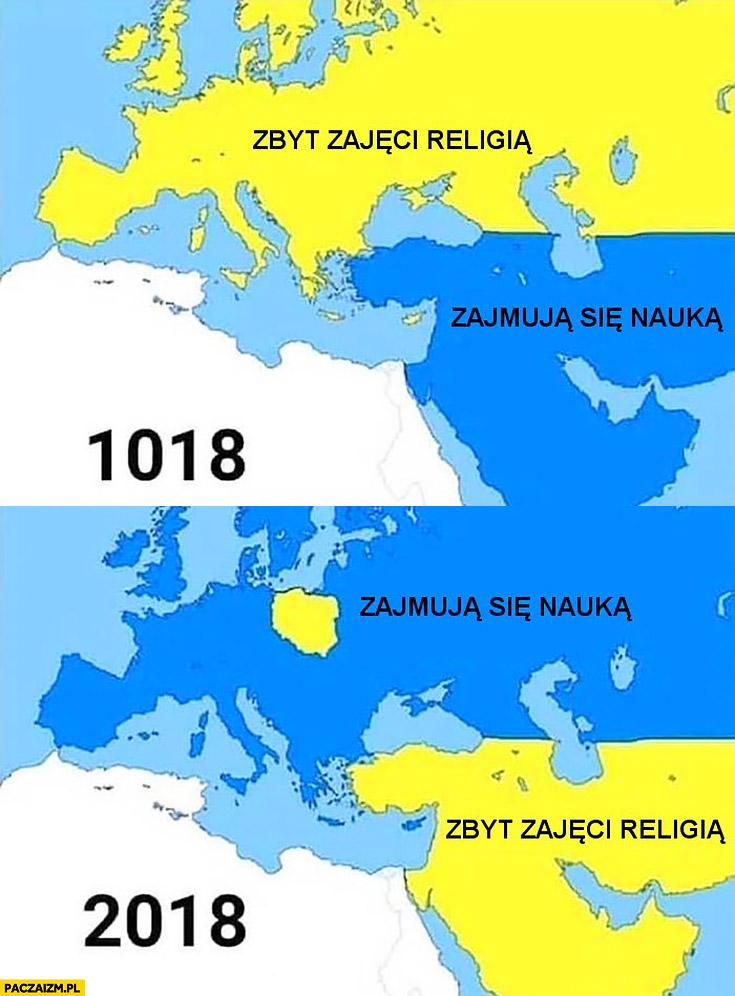 1018 2018 mapa Europy zbyt zajęci religią, zajmują się nauką porównanie Polska