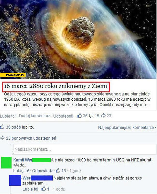 16 marca 2880 znikniemy z Ziemi planetoida USG na NFZ