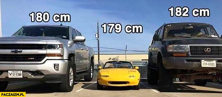 180cm, 179cm wzrost porównanie samochody