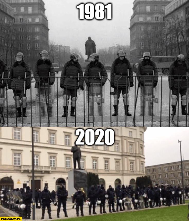 1981 vs 2020 policja ochrania pomnik porównanie