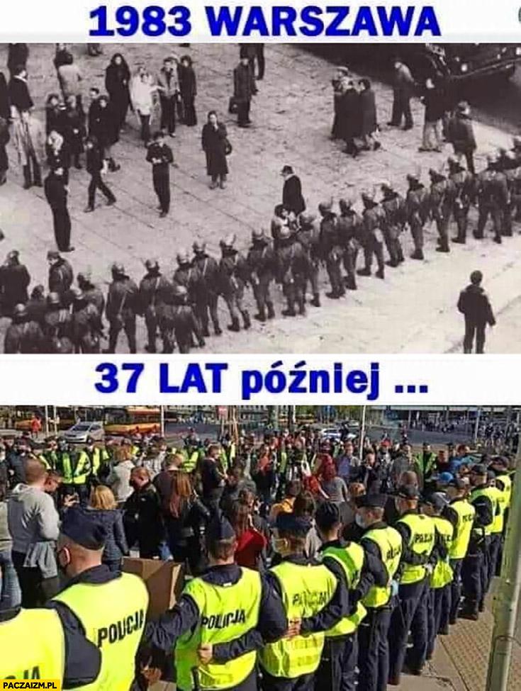1983 Warszawa ZOMO, 37 lat później policja otacza strajk przedsiębiorców