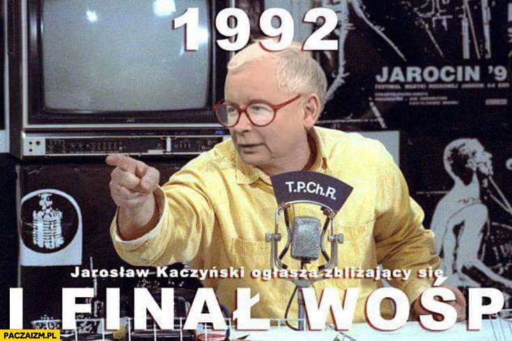 1992 Jarosław Kaczyński ogłasza zbliżający się pierwszy finał WOŚP Owsiak przeróbka