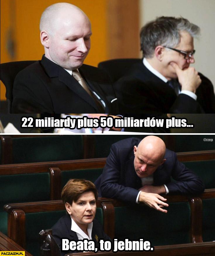 22 miliardy plus 50 miliardów plus Beata to jebnie Breivik Szałamacha Szydło