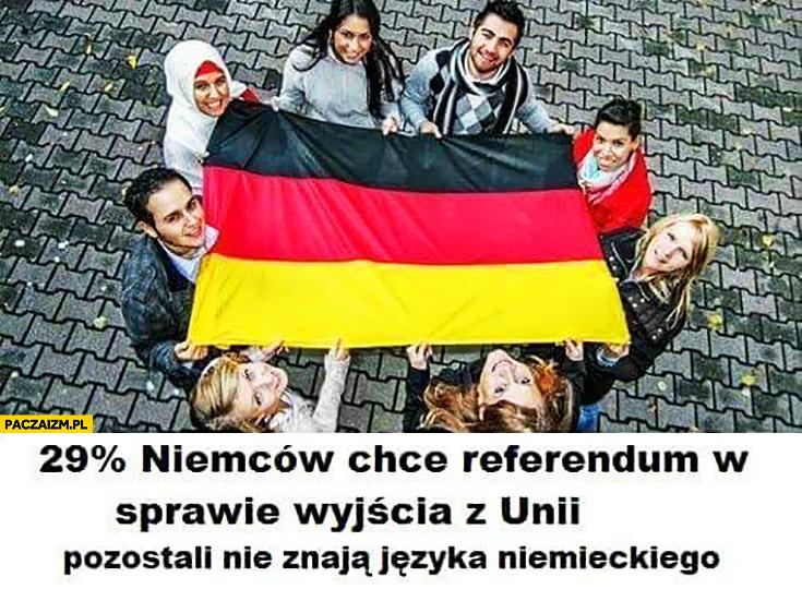 29% procent Niemców chce referendum w sprawie wyjścia z unii, pozostali nie znają języka niemieckiego