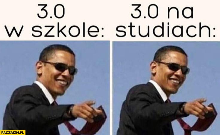 3.0 w szkole vs 3.0 na studiach Barack Obama