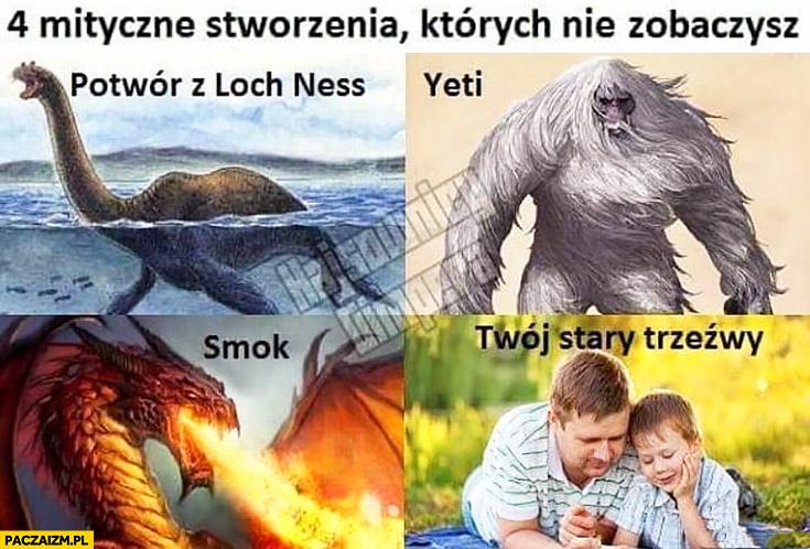 4 mityczne stworzenia których nie zobaczysz: Twój stary trzeźwy, yeti, smok, potwor z Loch Ness