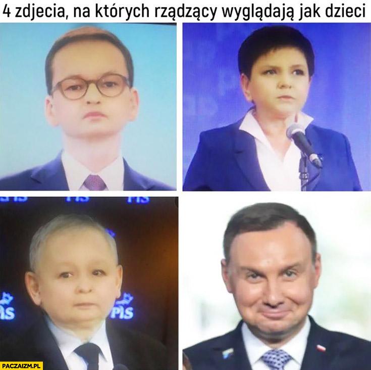 4 zdjęcia na których rządzący wyglądają jak dzieci Morawiecki Szydło Kaczyński Duda