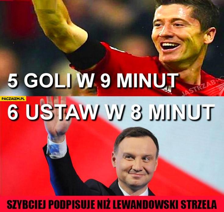 5 goli w 9 minut, 6 ustaw w 8 minut Lewandowski Duda