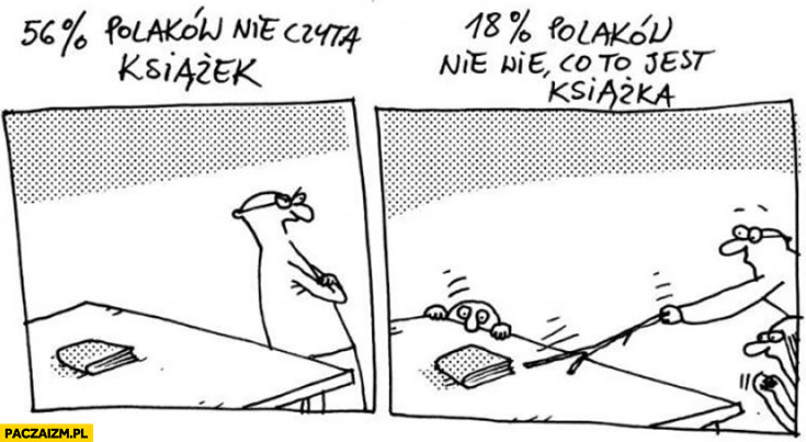 56% procent Polaków nie czyta książek, 18% procent Polaków nie wie co to jest książka Wilq