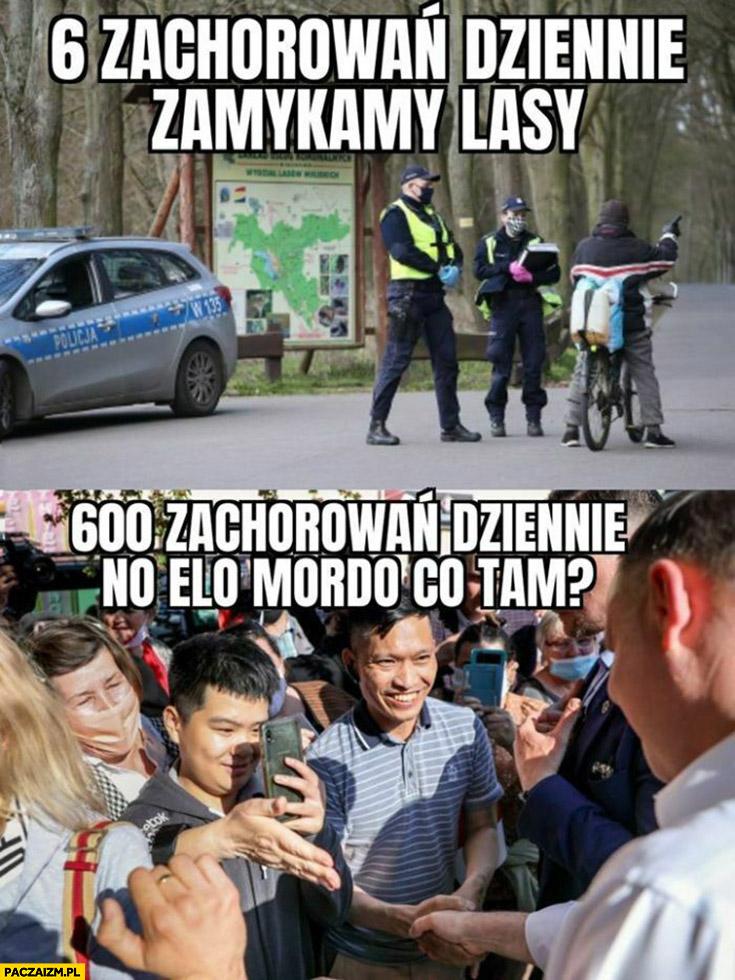 6 zachorowań dziennie zamykamy lasy, 600 zachorowań dziennie Andrzej Duda no elo mordo co tam?