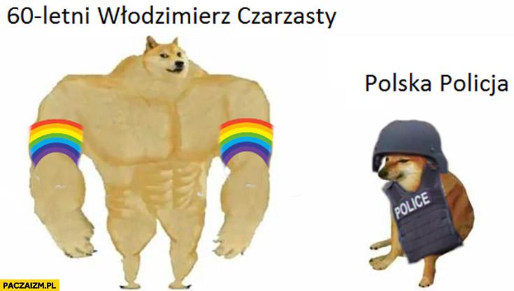 60-letni Włodzimierz Czarzasty vs polska policja pieseł doge