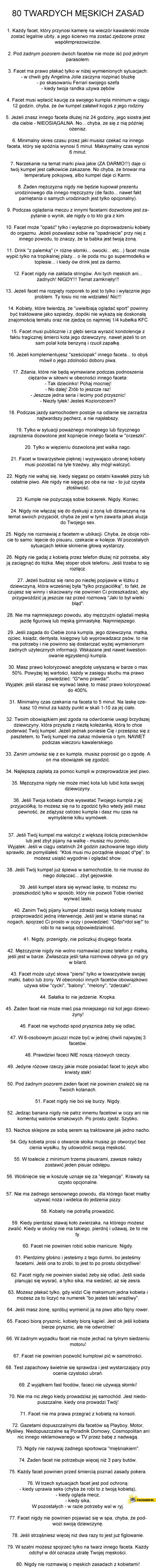 80 twardych męskich zasad
