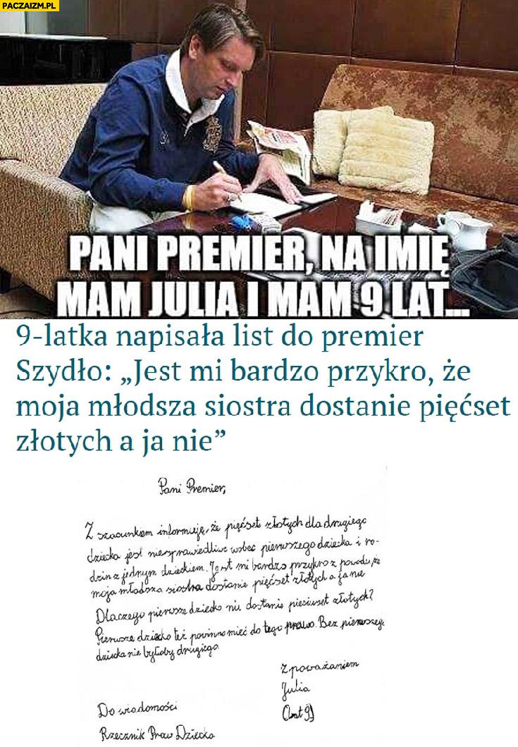 9-latka napisała list do premier Szydło: Pani Premier mam na imię Julia Tomasz Lis