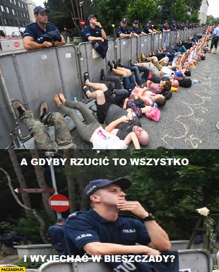 A gdyby rzucić to wszystko i wyjechać w Bieszczady? Policjant pod sejmem protest manifestacja