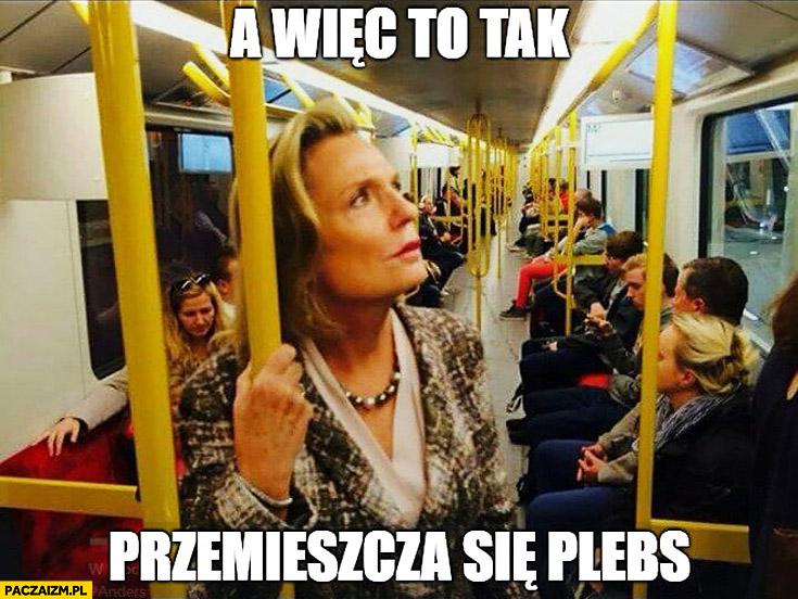 A więc to tak przemieszcza się plebs senator Anna Maria Anders w komunikacji miejskiej