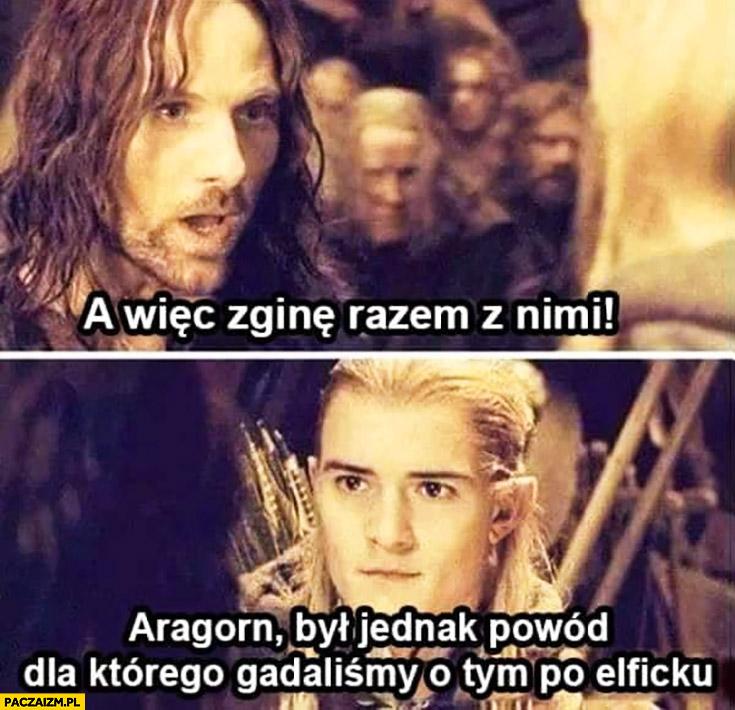 A wiec zginę razem z nimi. Aragorn był jednak powód dla którego gadaliśmy o tym po elficku Władca Pierścieni Lord of the Rings