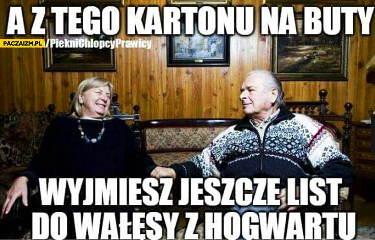 A z tego kartonu na buty wyjmiesz jeszcze list do Wałęsy z Hogwartu Kiszczak do żony