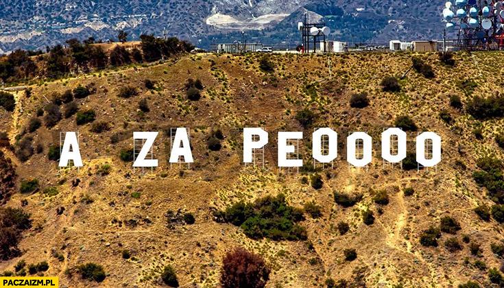 A za PO Platformy Obywatelskiej Hollywood napis