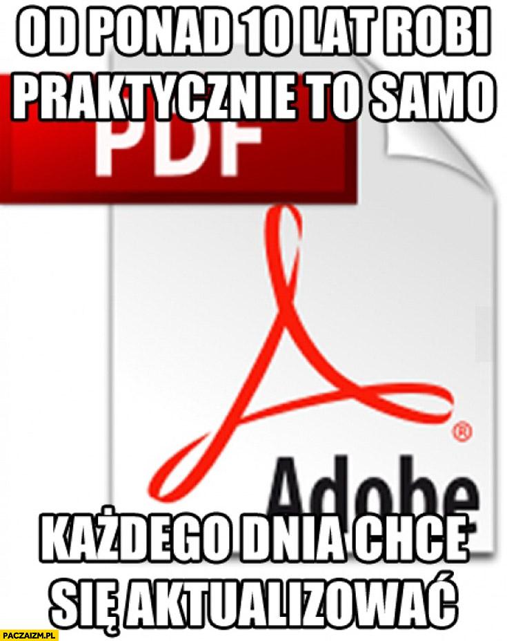 Adobe Reader PDF od ponad 10 lat robi praktycznie to samo każdego dnia chce się aktualizować