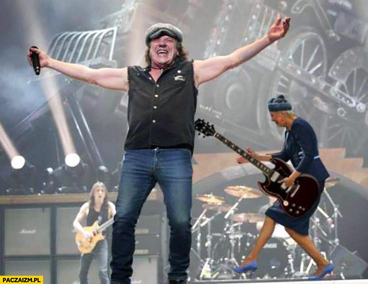 Agata Duda jako gitarzystka AC/DC przeróbka photoshop powitanie ŚDM