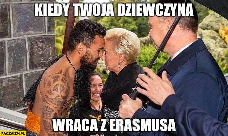 Agata Duda kiedy Twoja dziewczyna wraca z Erasmusa Andrzej Duda patrzy