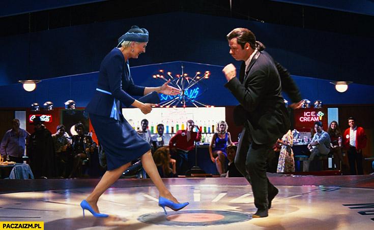 Agata Duda tańczy w Pulp Fiction przeróbka photoshop powitanie ŚDM