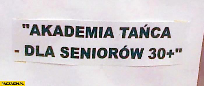 Akademia tańca dla seniorów 30+ plus kartka napis ogłoszenie