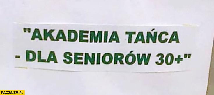 Akademia tańca dla seniorów 30 plus kartka napis