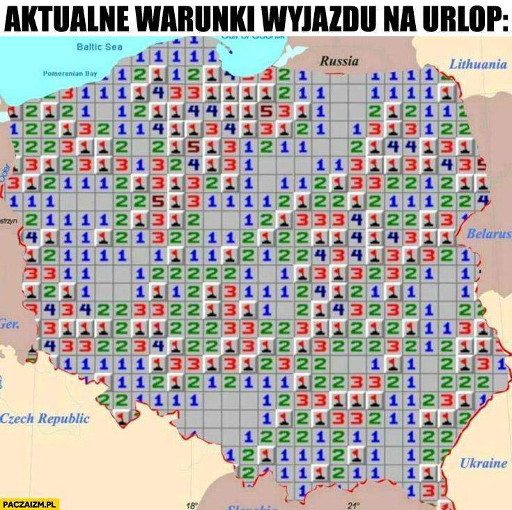 Aktualne warunki wyjazdu na urlop w Polsce saper pole minowe mapa
