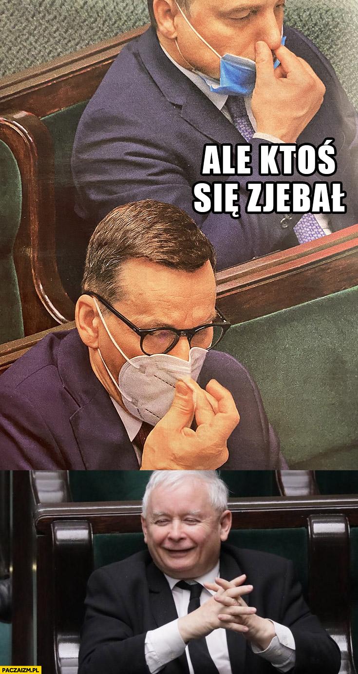 Ale ktoś się zesrał Kaczyński Morawiecki zatyka nos