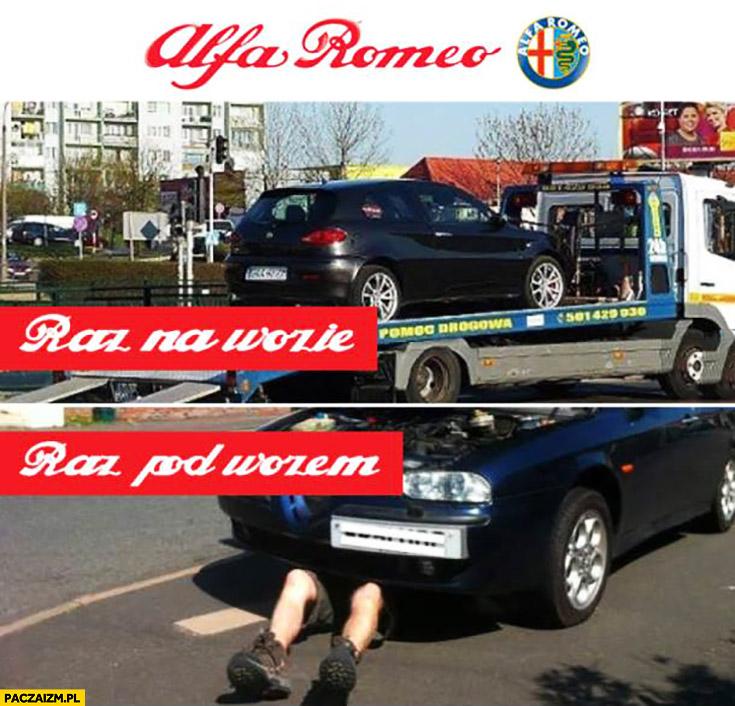 Alfa Romeo raz na wozie raz pod wozem laweta awaria