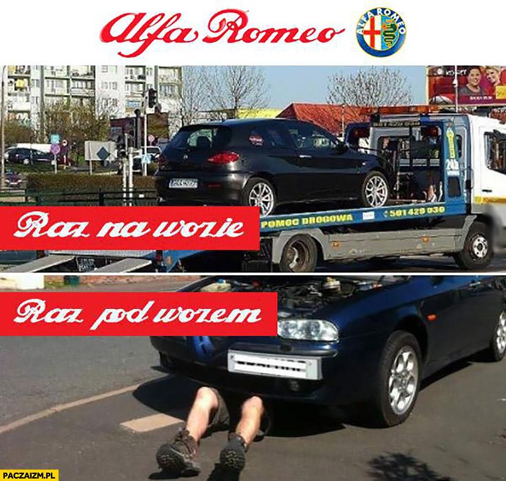 Alfa Romeo raz na wozie raz pod wozem laweta naprawa