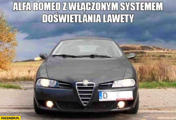 Alfa Romeo z włączonym systemem doświetlania lawety