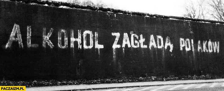 Alkohol zagładą Polaków napis