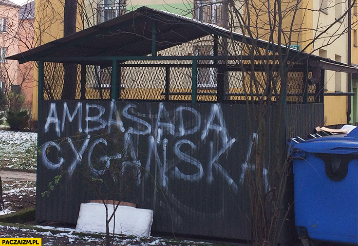 Ambasada Cygańska napis na śmietniku