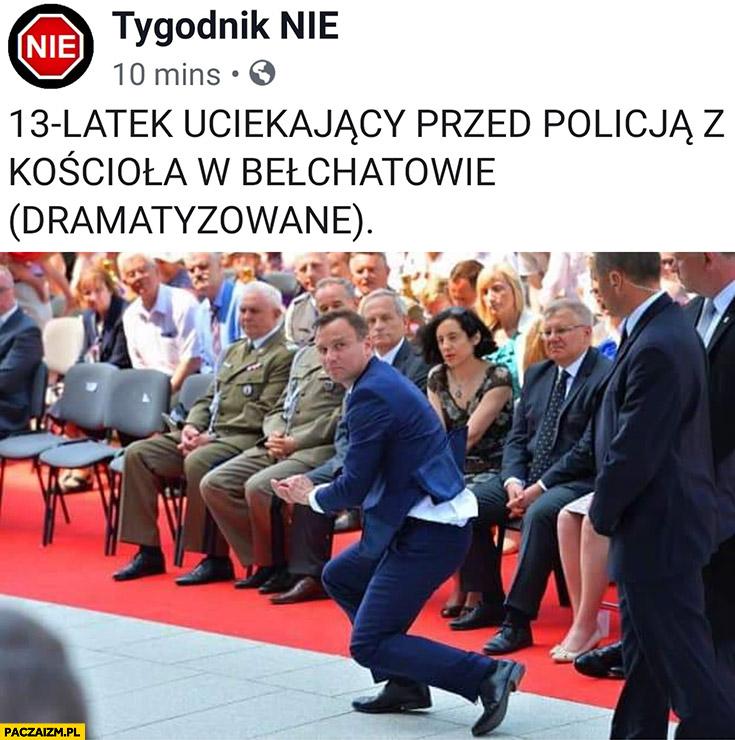 Andrzej Duda 13 latek uciekający przed policją z kościoła w Bełchatowie dramatyzowane