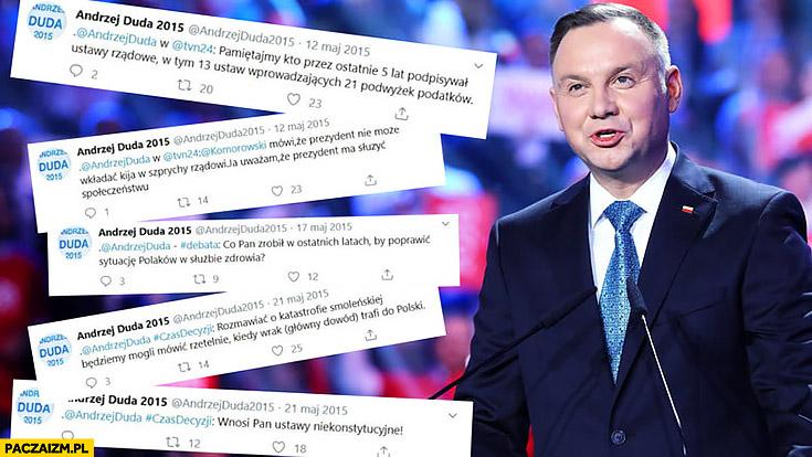 Andrzej Duda 2015 twitter tweety z poprzedniej kampanii