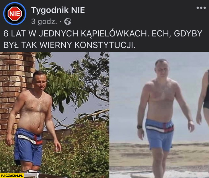 Andrzej Duda 6 lat w jednych kąpielówkach tommy hilfiger ech gdyby był tak wierny konstytucji