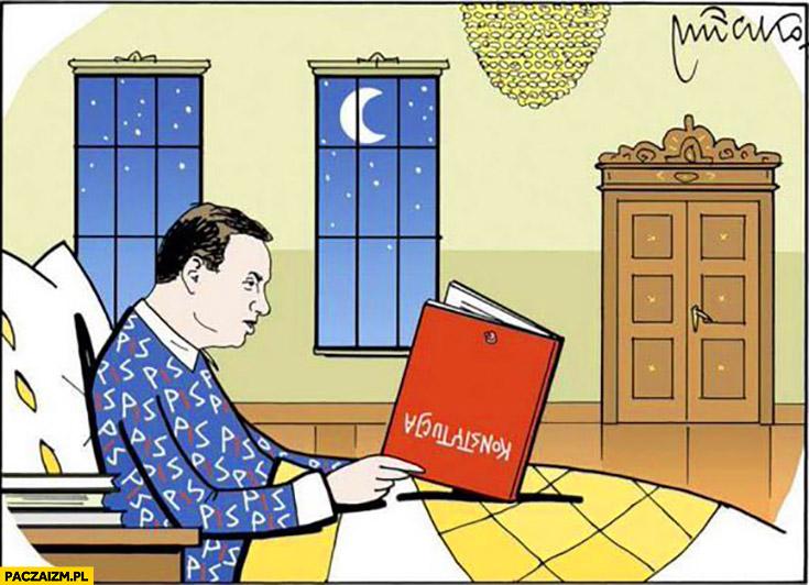 Andrzej Duda czyta konstytucję do snu do góry nogami mleczko