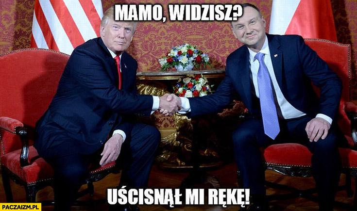Andrzej Duda Donald Trump mamo widzisz uścisnął mi rękę