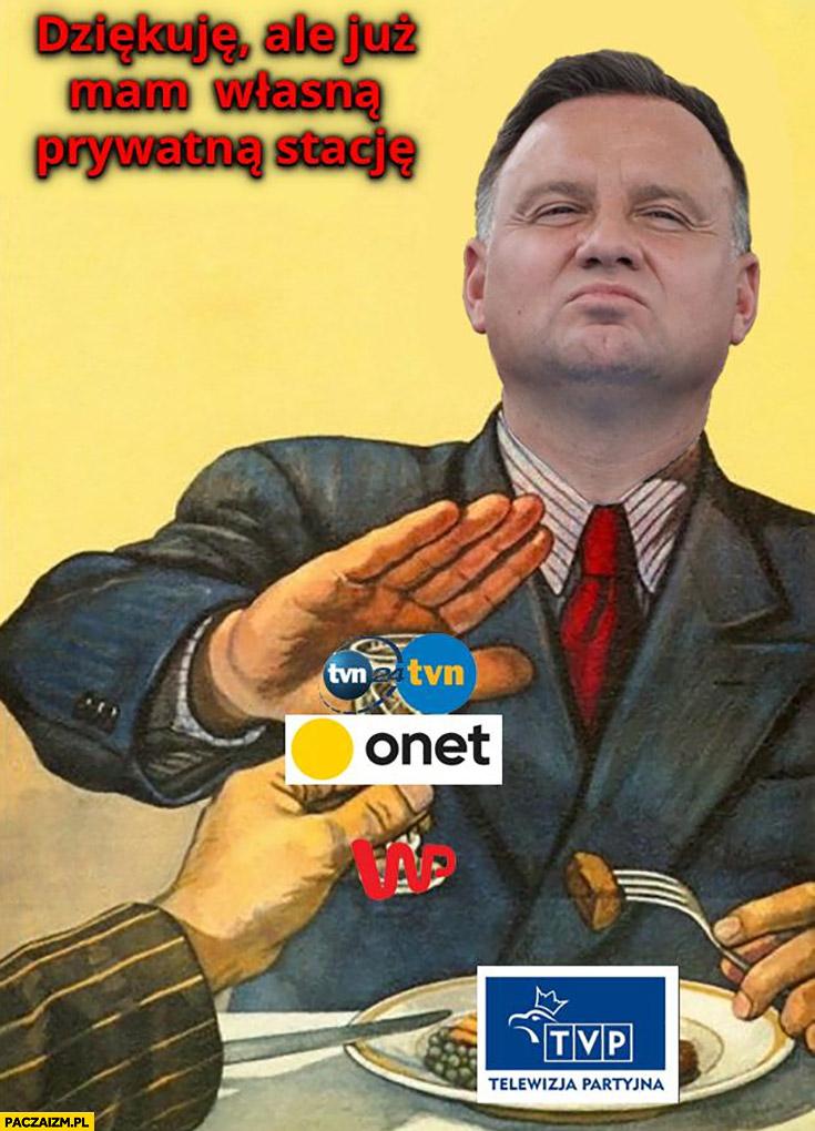 Andrzej Duda dziękuje ale już mam własną prywatną stację, nie chce debaty w TVN tylko w TVP