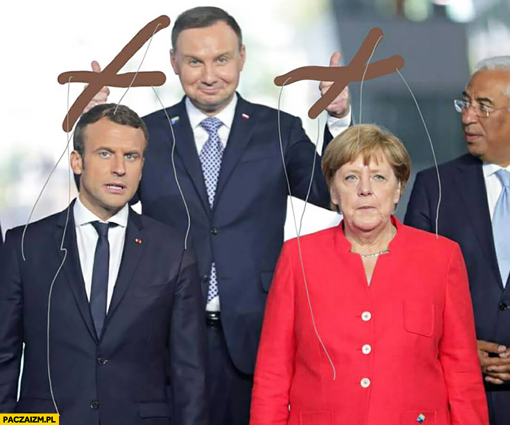 Andrzej Duda Macron Merkel marionetki przeróbka