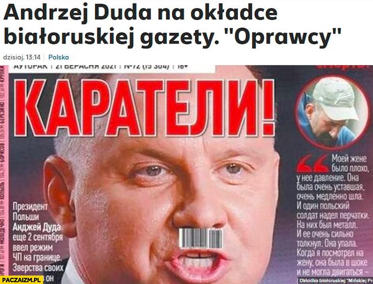 Andrzej Duda na okładce białoruskiej gazety oprawcy kod kreskowy jak wąsy hitlera
