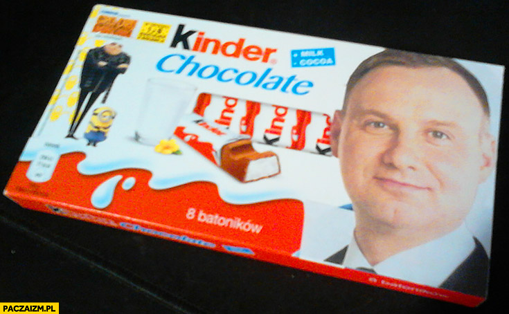 Andrzej Duda na opakowaniu Kinder czekolady chocolate
