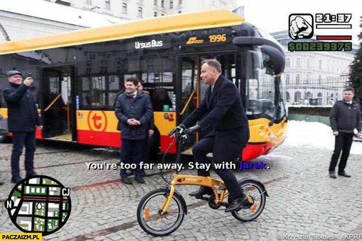 Andrzej Duda na rowerze misja GTA Grand Theft Auto