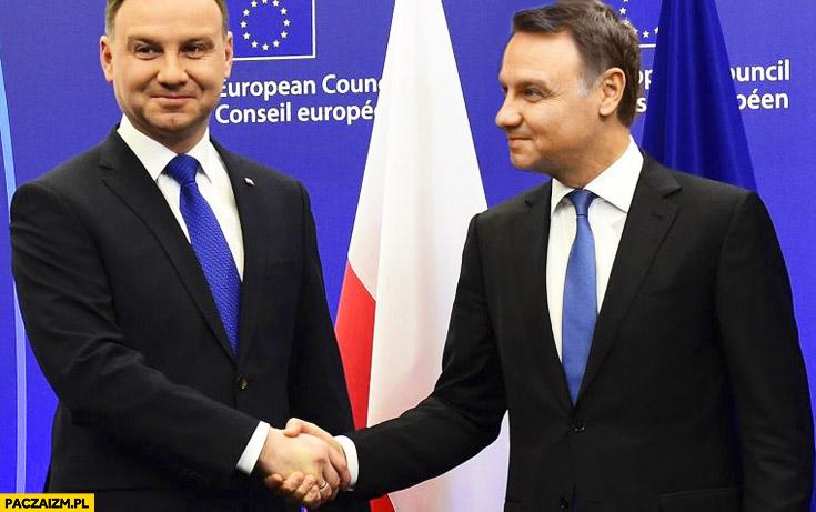 Andrzej Duda na szczycie Unii z Andrzejem Dudą przeróbka