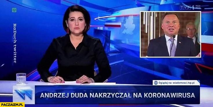 Andrzej Duda nakrzyczał na koronawirusa pasek Wiadomości TVP